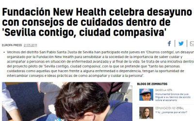 """Fundación New Health celebra un desayuno con consejos de cuidados en """"Sevilla Contigo, Ciudad Compasiva"""" (20 minutos 21/03/2019)"""