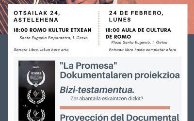 """Documentalaren proiekzioa """"La Promesa"""" en Getzo Zurekin"""